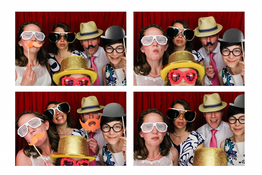 Bride and her family in the wedding photo booth