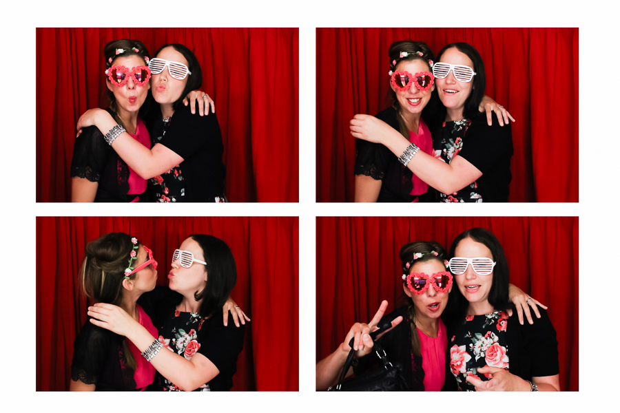 wedding guests in the photo booth
