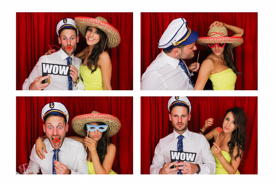 Glamorous couple in the wedding photo booth